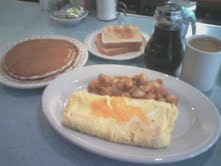 Yes...I PIGGED out! Omelet and pancakes.